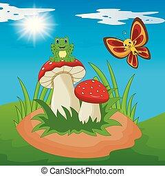 farfalla, carino, rana, fungo, cartone animato