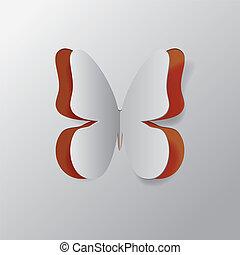 farfalla, carta in fogli, fuori