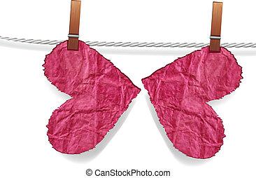 farfalla, cencioso, spiegazzato, cuore, cuore