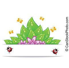 farfalla, coccinella, fiore, eco, -, illustrazione, foglie, vettore, verde, amichevole, scheda