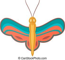 farfalla, colorato, isolato, fondo., bianco, cartone animato