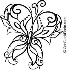 farfalla, colore arte, illustrazione, vettore, d?cor, linea,...