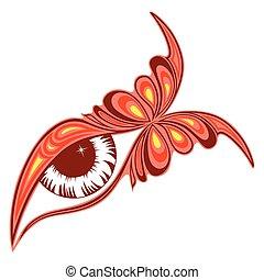 farfalla, colorito, occhio, umano, modello