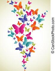 farfalla, colorito, schizzo