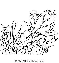 farfalla, coloritura, illustrazione, cartone animato, fiore, vettore, pagina