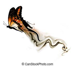 farfalla, con, fumo
