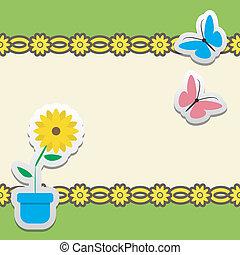 farfalla, cornice, fiore