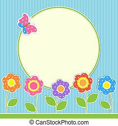 farfalla, cornice, fiori, rotondo