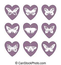 farfalla, cuore, set, laccio, icone, silhouette, vettore