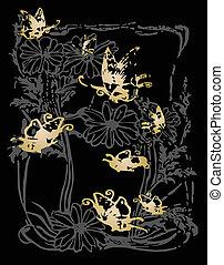 farfalla, decorazione, cornice