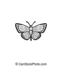 farfalla, disegnato, schizzo, icon., mano