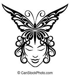 farfalla, donna, hairdress, faccia