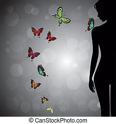 farfalla, donna, silhouette, colorito