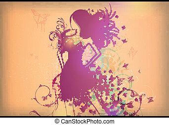 farfalla, donna, vestire, vettore