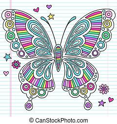 farfalla, doodles, psichedelico