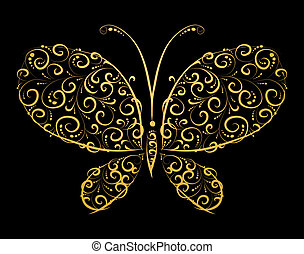 farfalla, dorato, disegno, silhouette, lei