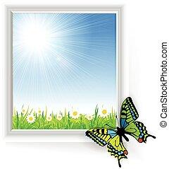 farfalla, erba, verde, illustrazione