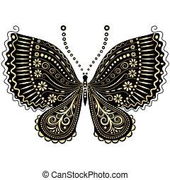 farfalla, fantasia, black-gold, vendemmia