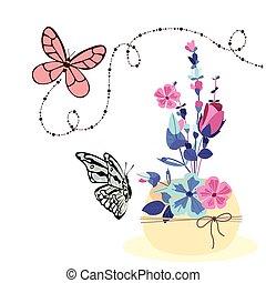 farfalla, fiore, colorito, immagine, vettore, fondo