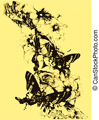 farfalla, fiore, illustrazione
