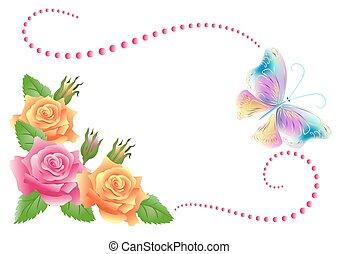 farfalla, fiori, ornamento