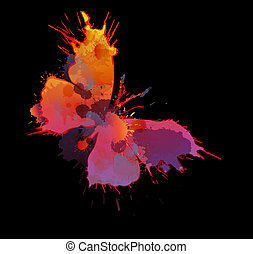farfalla, fondo, nero, schizzi, colorito