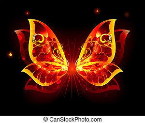 farfalla, fuoco, ali