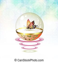 farfalla, globo vetro, isolato