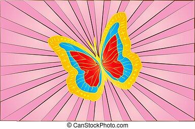 farfalla, grande, astratto, illustrazione, fondo, ali, dorato, vettore, rays., viola