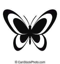 farfalla, icona, stile, semplice