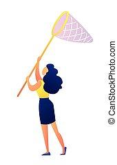 farfalla, illustration., giovane, vettore, ragazza, rete