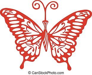 farfalla, logotipo, colorato