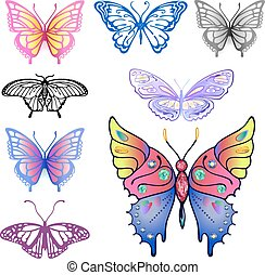 farfalla, logotipo, set