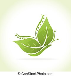 farfalla, logotipo, verde, mette foglie