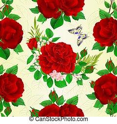 farfalla, mazzolino, vendemmia, seamless, struttura, vector.eps, rose, rosso