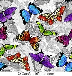 farfalla, modello, seamless, fondo