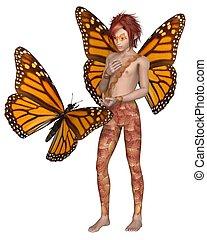 farfalla, monarca, fata, ragazzo