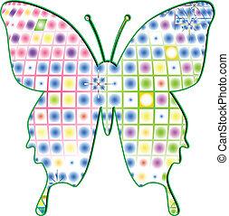 farfalla, multicolor, vettore