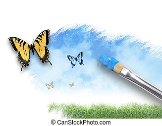 farfalla, natura, artista, cielo, pittura, nuvola
