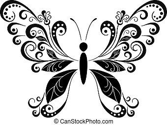 farfalla, nero, pictogram
