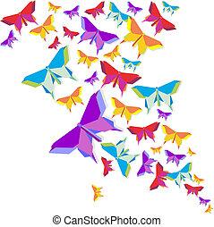 farfalla, origami, schizzo, colorare