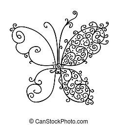 farfalla, ornamentale, disegno, tuo