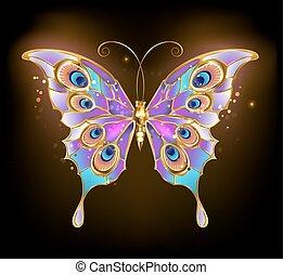 farfalla, pavone, oro