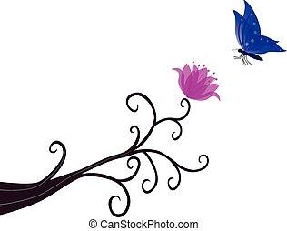 farfalla, perched, fiore