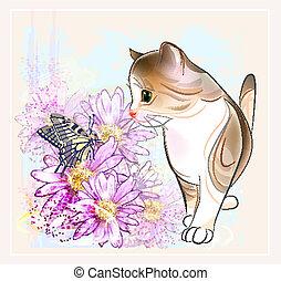 farfalla, poco, tabby, acquarello, compleanno, gattino, fiori, style., scheda
