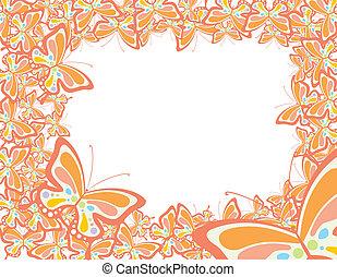 farfalla, primavera, cornice