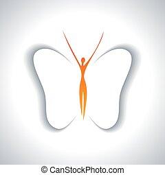 farfalla, ragazza, ali, carino