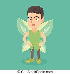 farfalla, ragazzo, wings., verde, fata, caucasico