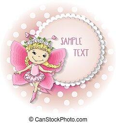 farfalla, rosa, ragazza, dress., dolce