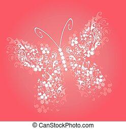 farfalla, rosa